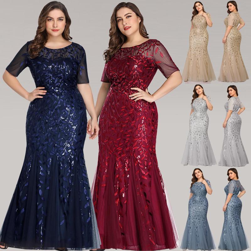 Lantejoulas da ilusão da sereia Comprimento do assoalho do baile de pré-vestido de longa noite Vestidos de ocasião especial feitos sob encomenda Plus size vestidos de noite vestes