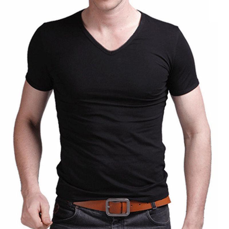 Tee-shirt d'été pour hommes solide noir blanc simple Tops manches courtes col en V Style coréen Slim Fit Tees décontractés Vêtements pour hommes T-shirts