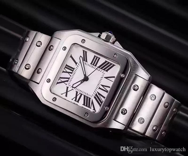 2019 حار بيع الرجال ساحة الساعات جنيف حقيقية الفولاذ المقاوم للصدأ الكوارتز ساعات عالية الجودة أزياء رجالي سانتو الساعات