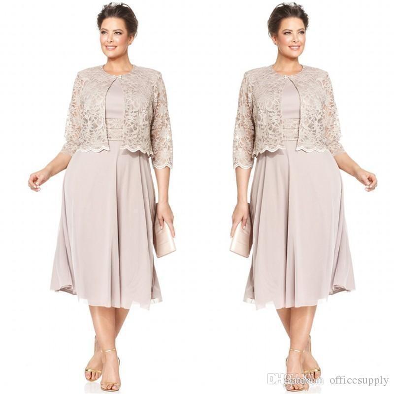 Plus Size Vestidos de Noiva da Mãe com Mangas Meia Vestido de Festa de Casamento Jaqueta de Renda Curto Formal Vestidos Custom Made