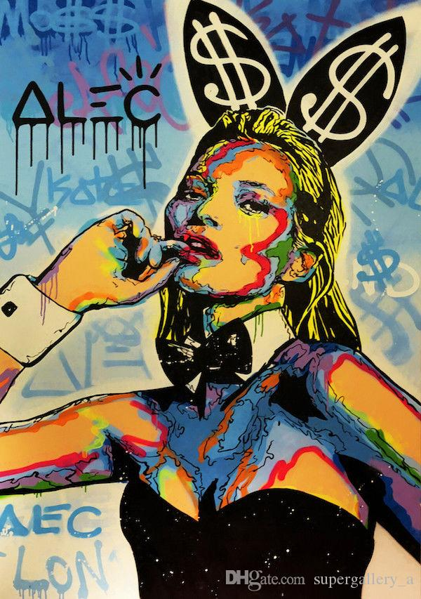 Alec Monopoly Oil Painting On Canvas graffiti art Home Decor Wall Art Picture High Quaity Handpainted & HD Printed Kate Moss Rabbit