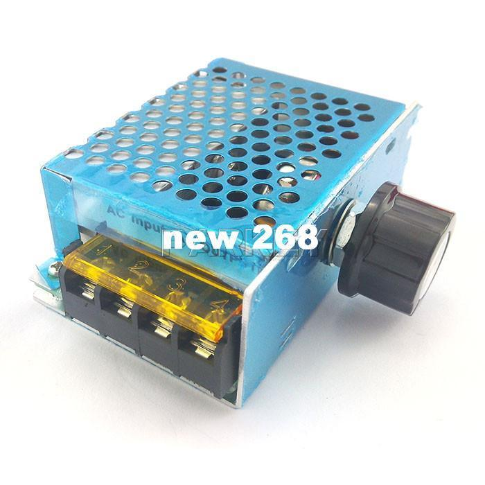 Freeshipping 5 PCS/LOT SCR Electronic Voltage Regulator 4000W 220V High Power Governor Thermostat Dimming Dimmer Aluminum Case #200491