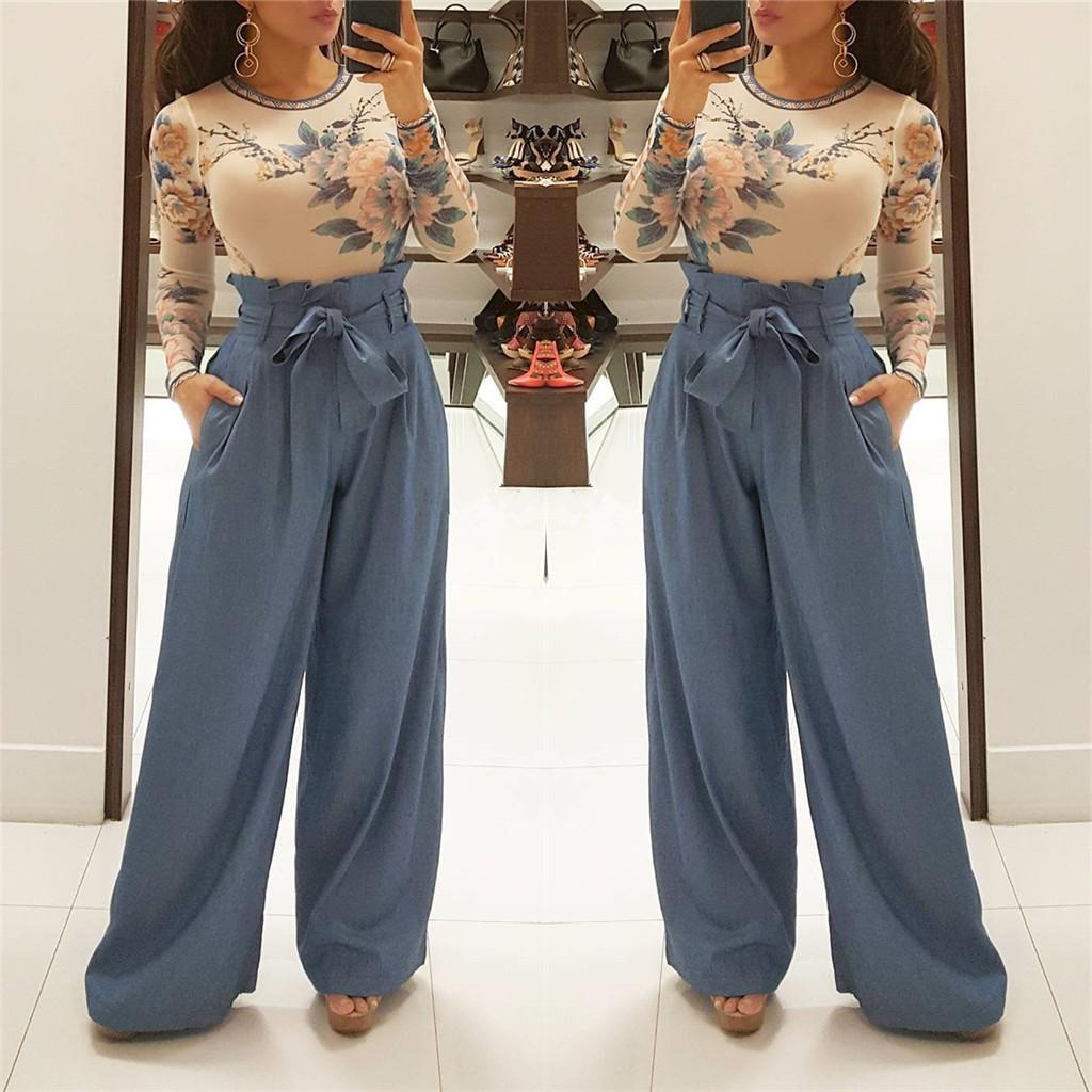 High Waist Paperbag Trousers for Womens Clothes Spring Summer Solid Color Pants Fashion Wide Leg Casual Leisure Pants