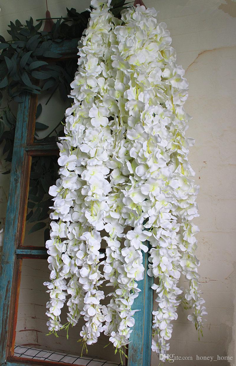 2020 Wholesale White Wisteria Flower Rattan With Leaves Silk