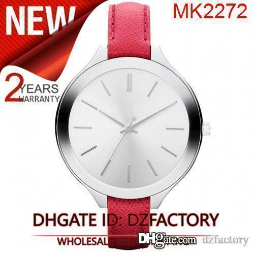 Envío de la gota Nuevo NUEVO MK2272 MK2273 MK2275 MK2284 MK2285 MK2298 PISTA DE TONO NARANJA SLIM banda de cuero de las mujeres del reloj