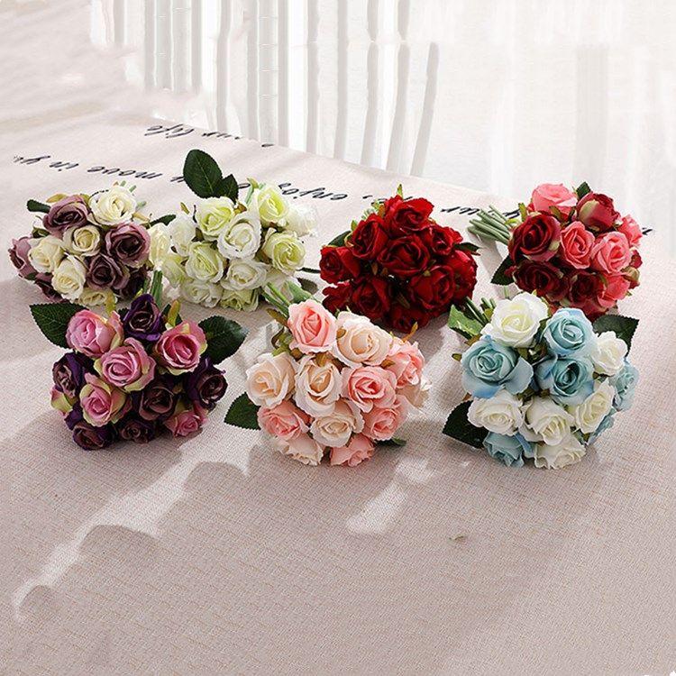 Chaud 10 Style Roses artificielles Fleur Mariage Centres de Mariage Robe Mariée Simulation de fleurs décoratives 1Lot / 12pcs Matinware T2I5489