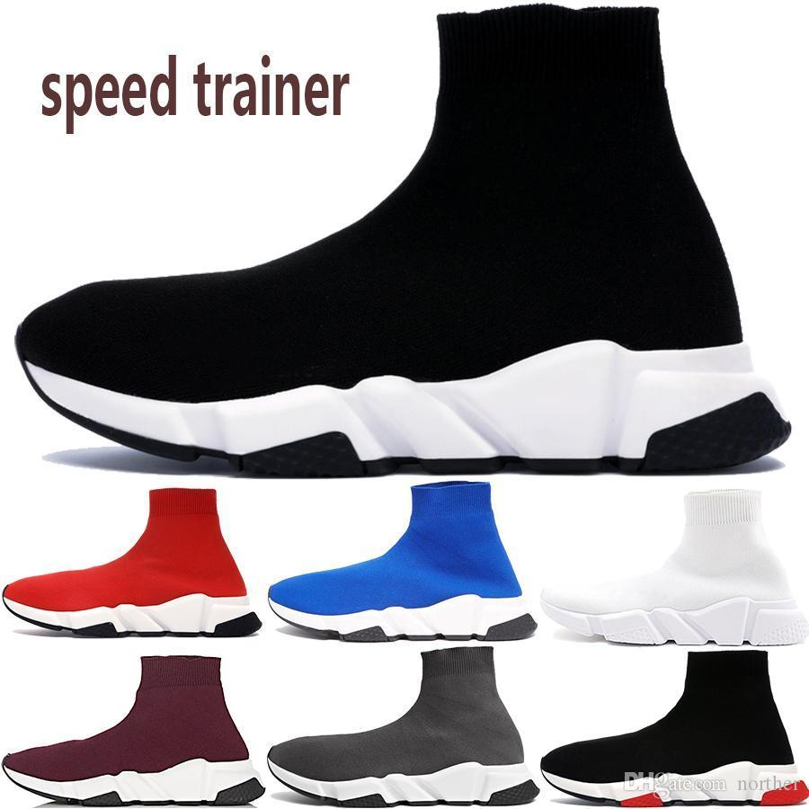 Cheap pairs speed trainer mens casual sock shoes triple black white grey royal prune Canvas Shoes hot men women sneakers US 5.5-11