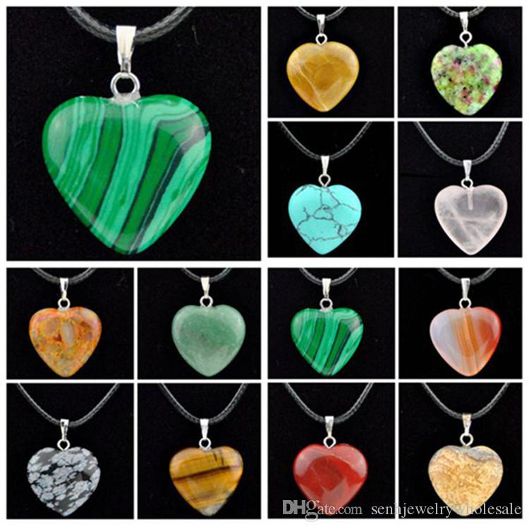 Lotti di moda 12 pezzi a forma di cuore in pietra naturale ciondolo collana per uomo donna gioielli regali mn484