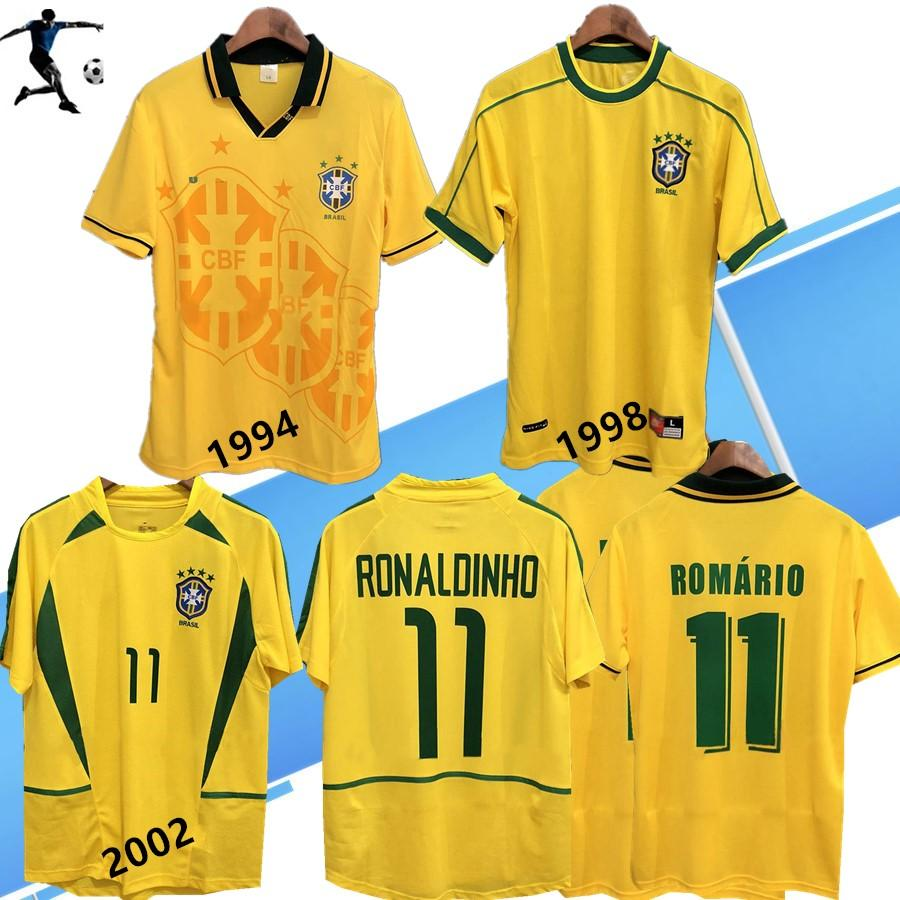 1994 1998 브라질 홈 축구 유니폼 2002 년 브라질은 고전적인 셔츠 카를로스 호마리우 호나우두 호나우딩요 R. 카를로스 뉴저지 camisa 드 Futebol의 복고풍