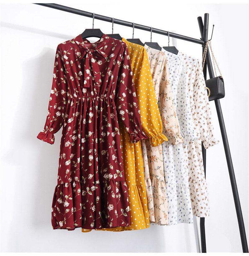 여성 캐주얼 쉬폰 셔츠 드레스 여성 한국어 스타일 꽃 인쇄 빈티지 사무실 셔츠 드레스 긴 소매 활 미디 드레스 Vestido