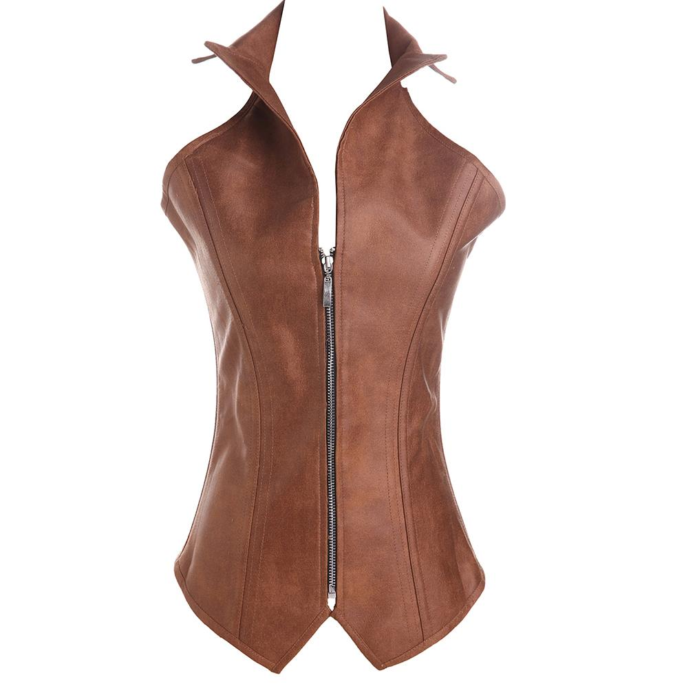 Sexy Faux Leather Corset Sexy Brown Zipper Steampunk Corset Overbust Lace Up Back Vest Corselet Espartilhos for Women