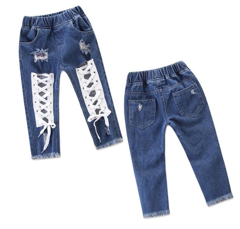 Compre 2019 Nuevo Diseno De Moda Jeans Pantalones Para Ninas Verano Moda Casual Arco Blue Hole Jeans Pantalones Para Ninas A 4 67 Del Toystoryworld Dhgate Com