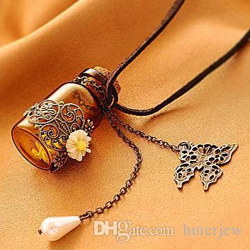 Pretty Necklaces Pendants Long retro leather cord sweater Chains Necklaces Wooden cork carved wishing bottle necklace