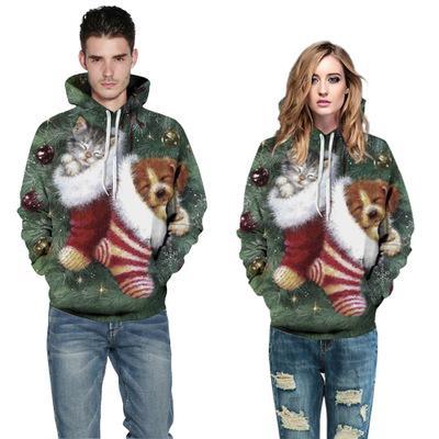 Hombres Mujeres Navidad del perro 3D Impreso sudaderas sudaderas Pareja caliente Streetwear Hip Hop Tamaño capucha Sudaderas Plus 5XL
