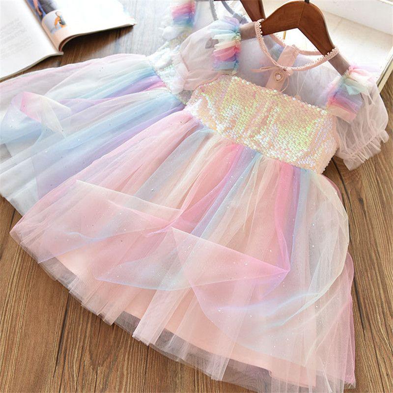 2020 Novos crianças Vestidos para meninas de manga curta vestido de paetês feericamente do partido do traje verão Puffy vestido do arco-íris Roupa Crianças