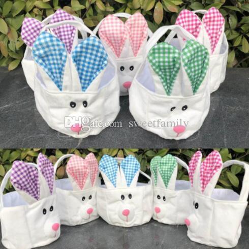 Conejo de Pascua cestas de dibujos animados lindo conejo orejas largas bolsos conejito a cuadros impreso bolsa de regalo de Pascua bolsa de regalo 5 colores