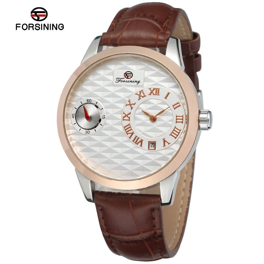 Forsining Obscure Design Relojes de lujo para hombre Reloj automático Dial pequeño Pantalla de segunda mano Moda Reloj mecánico Hombres SLZe41