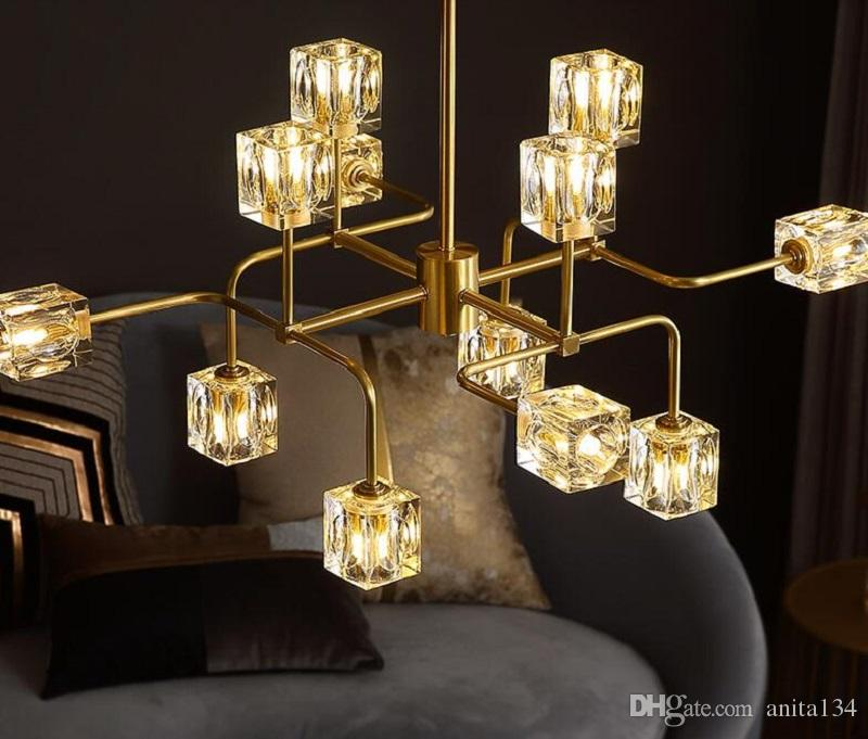 فاخر الحديثة النحاس كريستال الثريا لغرفة المعيشة أرسلت LED الحديثة الذهبي ثريات كريستال إضاءة الأنوار الإضاءة في الأماكن المغلقة