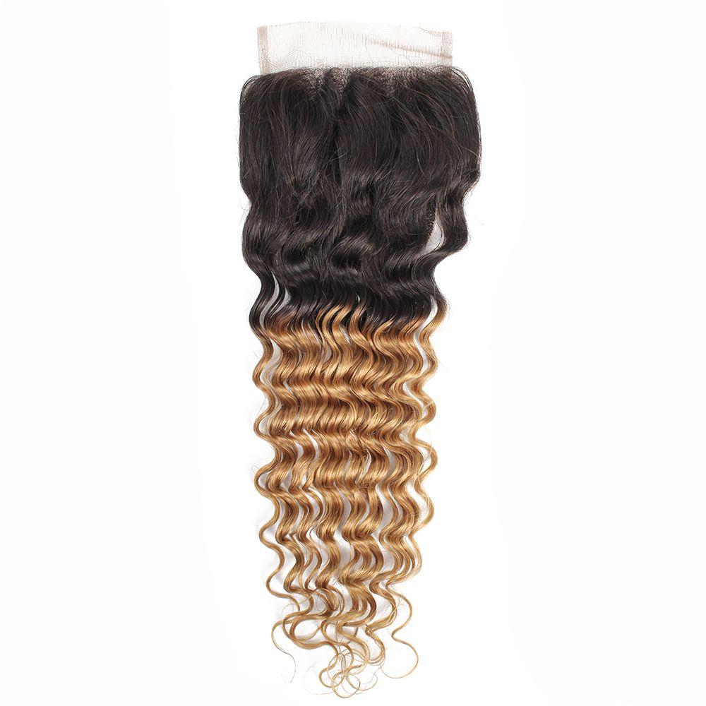 Deep Wave 4x4 Lace Closure Ombre Honey Blonde Hair Extension Brazilian Virgin Human Hair 1B 27 Peruvian Indian Malaysian Hair 10 16 Inch