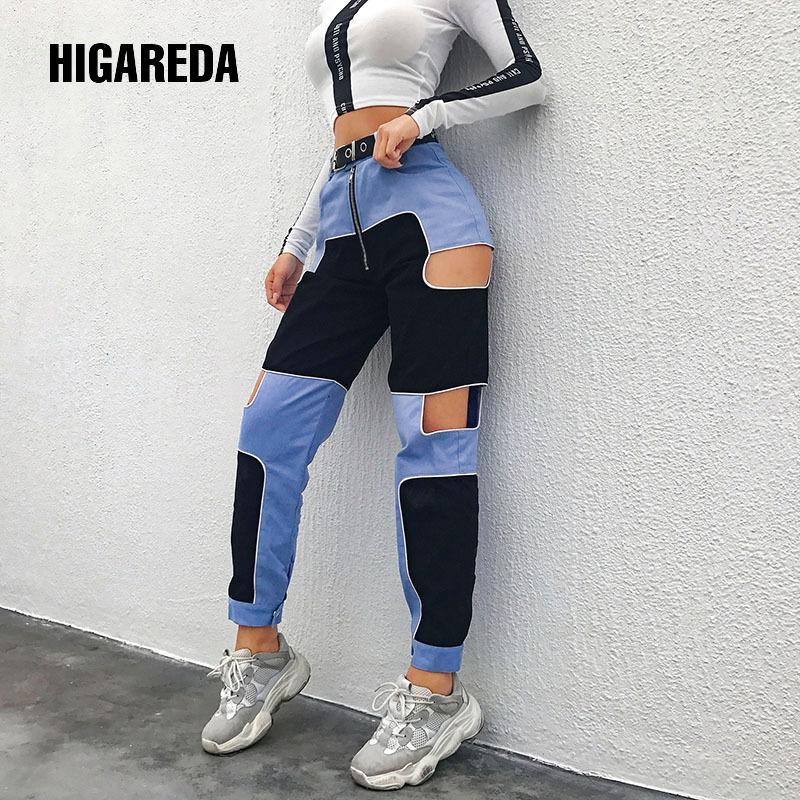 Harajuku Hip Hop Kargo Pantolon Kadınlar Hollow Out Yüksek Bel Pantolon Streetwear Patchwork Sweatpants Ve Koşucular Bayanlar