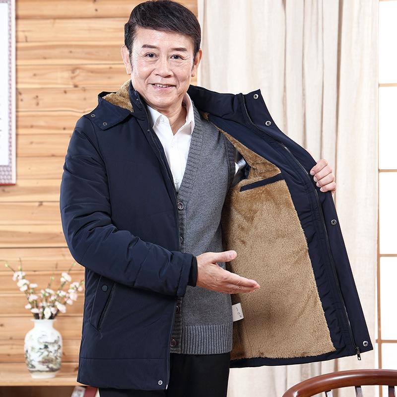 Pop2019 Long Hat Bring Middle Aged And Old People Men's Wear Dad Winter Clothes Cotton-padded Loose Coat Jacket