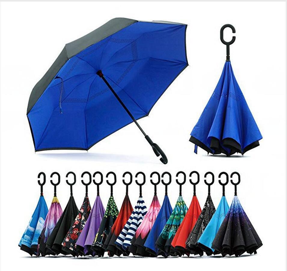 Reverse Umbrella C maniglia antivento inversione di pioggia Solare Protezione pieghevole a doppio strato invertito domestica Varie LJJP66