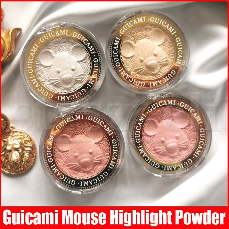 Guicami Makeup Face 3D Highlight Brightening Rose Gold Mouse Shape High Light Bronzers Highlighting Pressed Powder 4 Colors