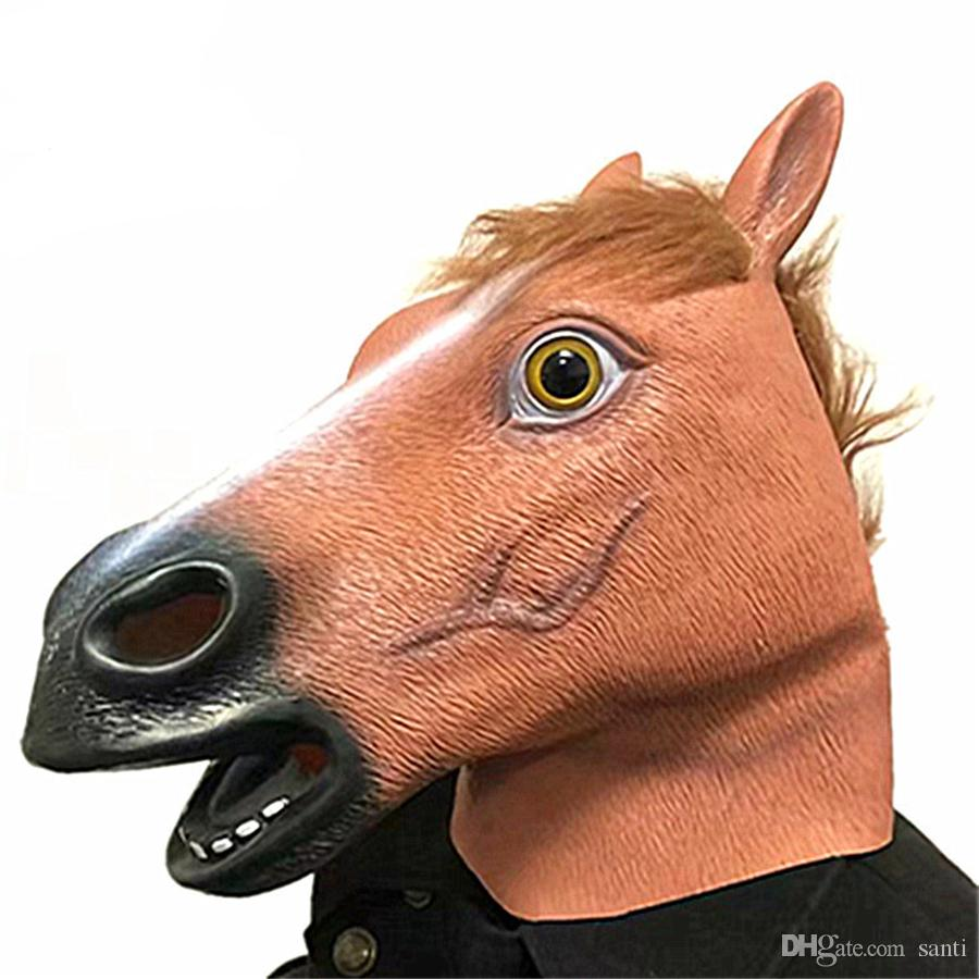 Yenilik Lateks Maske Cadılar Bayramı Kostüm Tam Yüz Korkunç At Başkanı Maske Masquerade Sahne Cadılar Bayramı Maskeleri Parti Malzemeleri JK1909XB