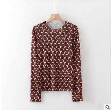 New Marine Serre grundiert T Shirt Frauen Loog Hülsen-Qualitäts-heißen Verkaufs Halbmond Tights Top Tees Marine-Serre Mädchen-T-Shirt