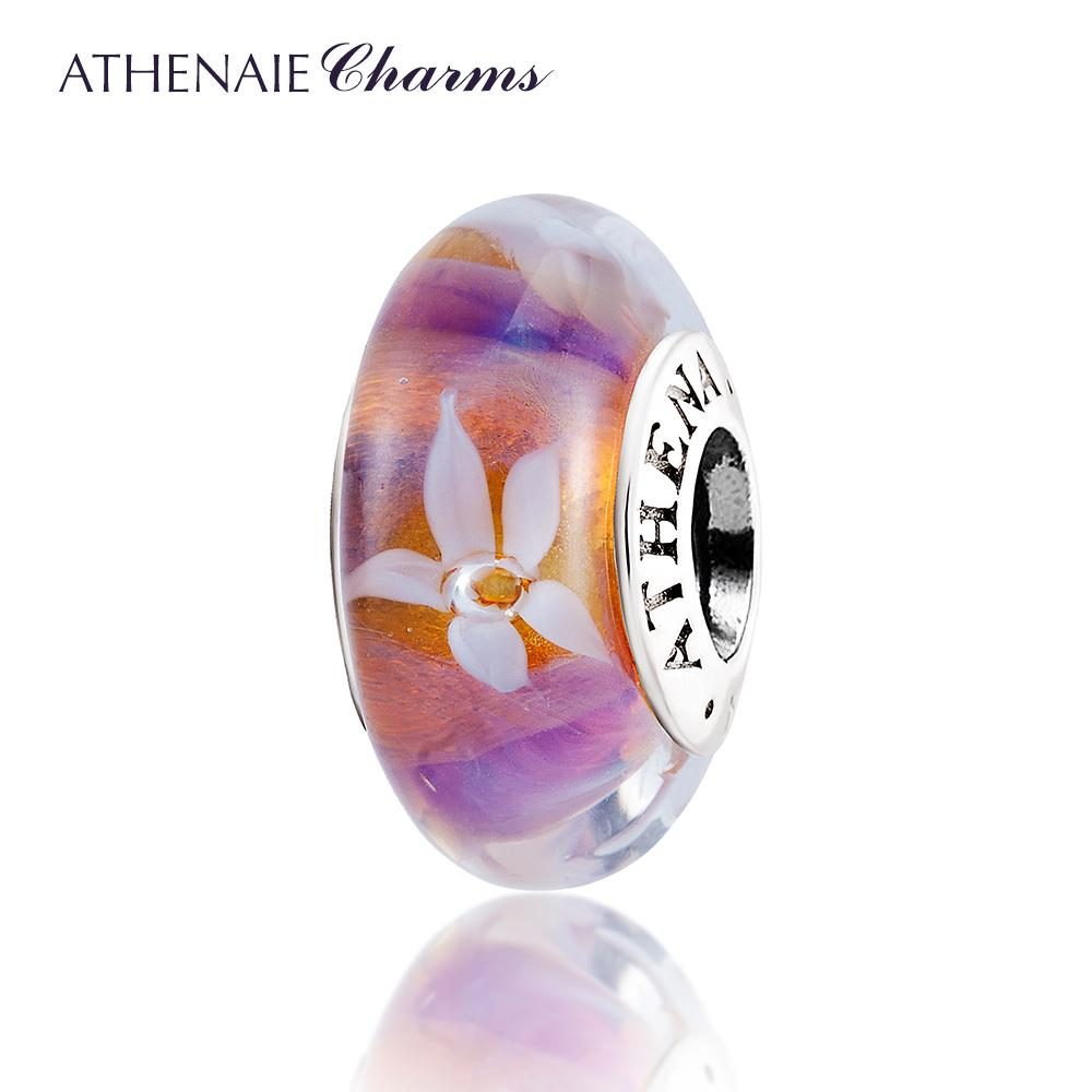 ATHENAIE Murano Glass 925 Silver Core Rose Flower Garden Bead Charms Couleur Rose