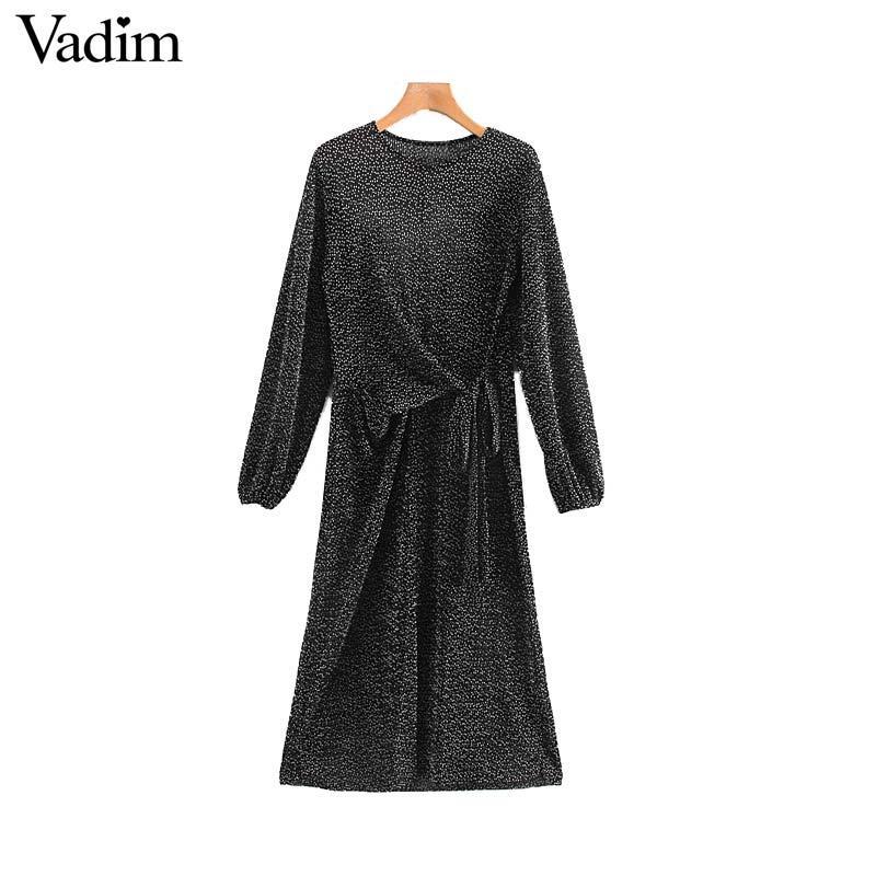 Vadim Frauen elegant polka dot Midi-Kleid Fliegen lange Hülse gefaltete retro weiblicher Jahrgang lässig Mitte Wade Kleider vestidos QC958