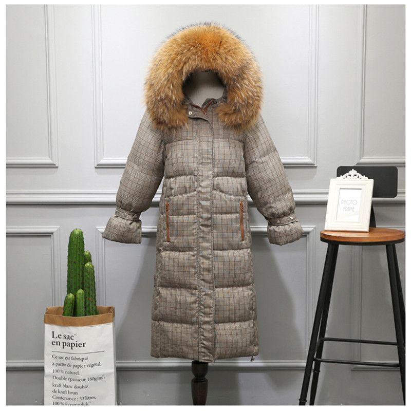 Women Winter Hoodie Long Jacket Coat Female Plus Size Warm Thick Plaid Hooded Coat Jacket Overcoat Down Parka mujer