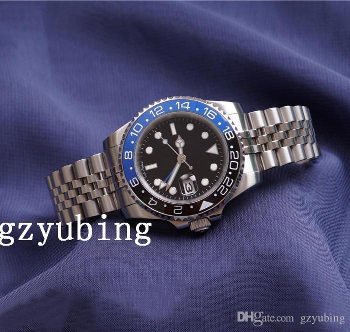 2020 고품질 베스트셀러 핫 세일 럭셔리 남성 손목 시계 블루 레드 세라믹 베젤 스테인레스 스틸 펩시 시계 GMT 운동 손목 시계