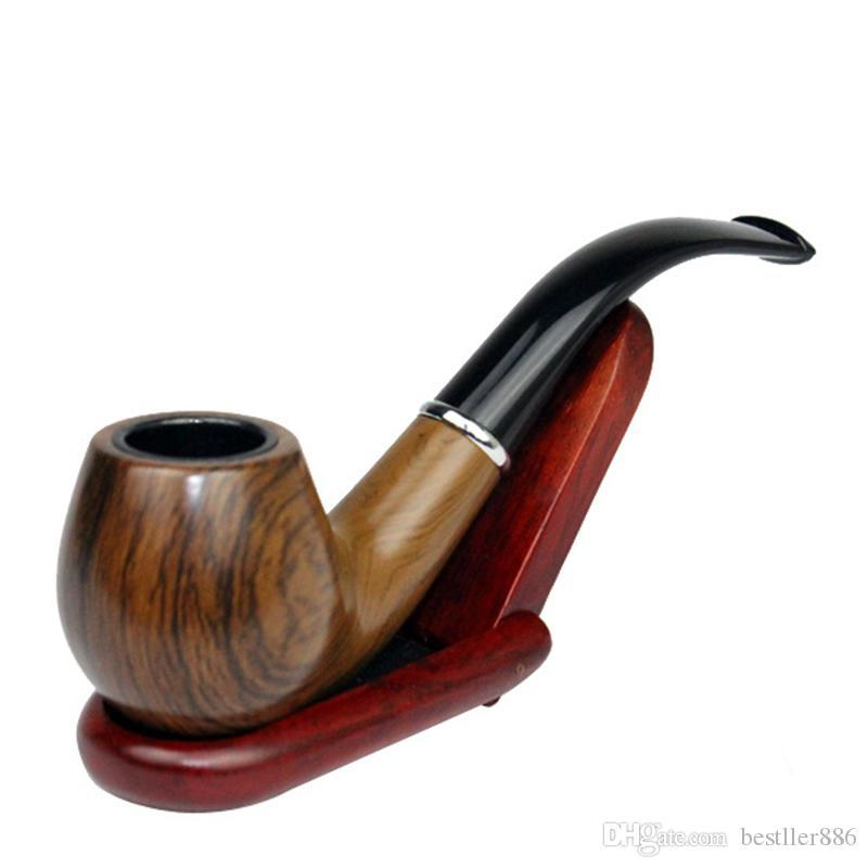 Classic Wood Grain Resin Pipe Chimney Filter Long Smoking Pipes Tobacco Pipe Cigar Gifts Narguile Gift Grinder Smoke Mouthpiece H0145
