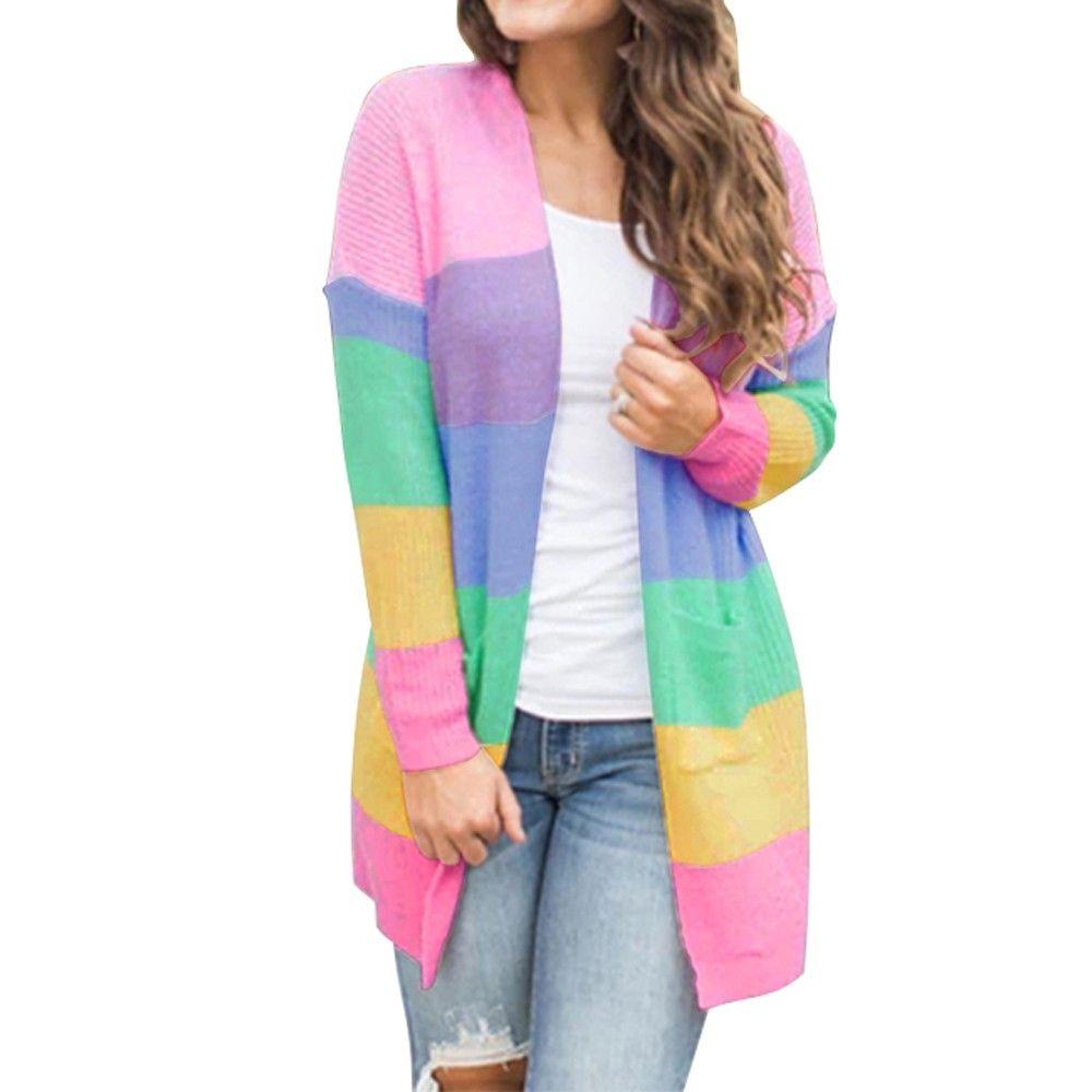 Novos Moda mulheres camisa blusa feminina inverno Plus Size Womens Patchwork manga comprida do arco-íris Stripe Cardigan Tops Brasão Sweater