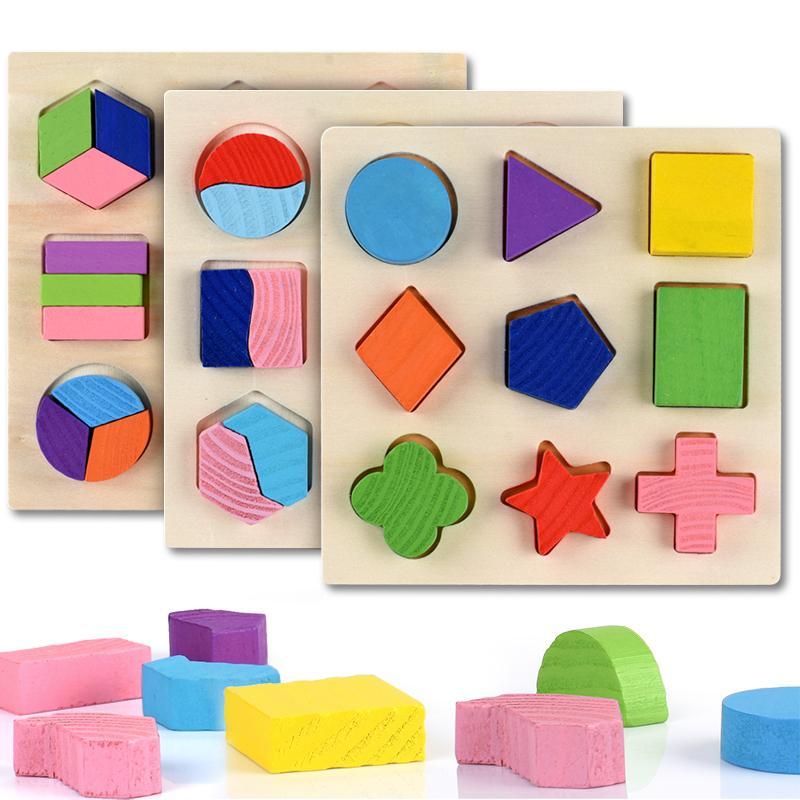 Formas geométricas de madera Montessori Rompecabezas Clasificación Matemáticas Ladrillos Aprendizaje preescolar Juego educativo para niños pequeños para niños