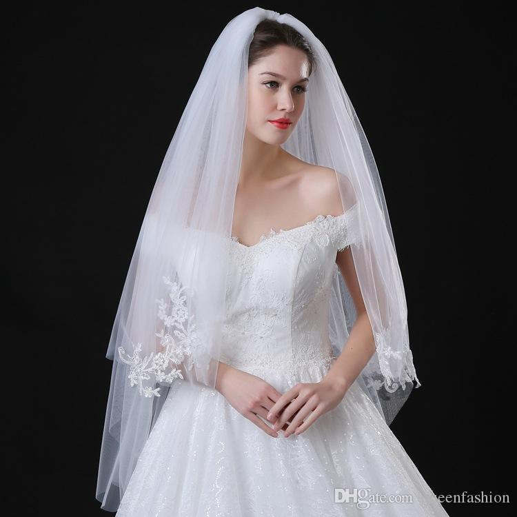 Two Layers Champagne Tulle Wedding Bridal Veil Bride Hair Accessories With Comb