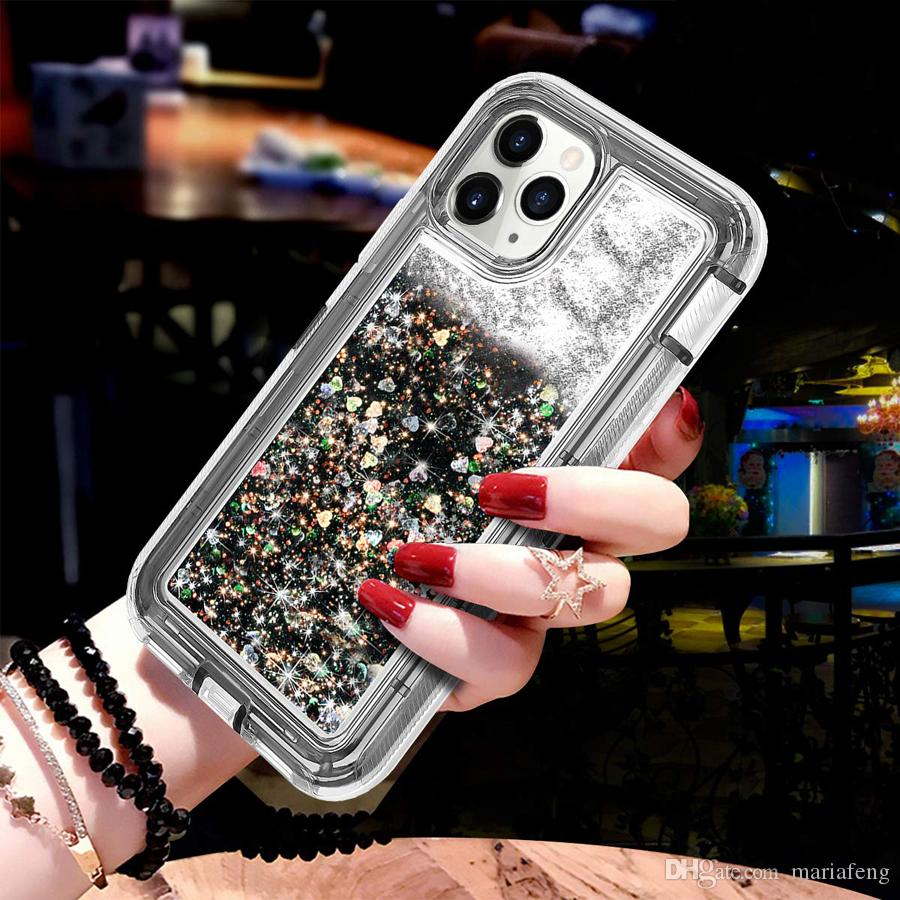 For Iphone 11 Pro X XS XR MAX Glitter Bling Crystal Liquid Quicksand Defender Case For Samsung S10 Note 10 Plus