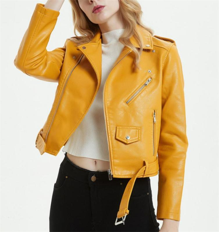 Women's Spring Autumn Fashion Casual Artificial Leather Jacket Top Outre wear Zipper collar Jackets Coats Personality Short Mot