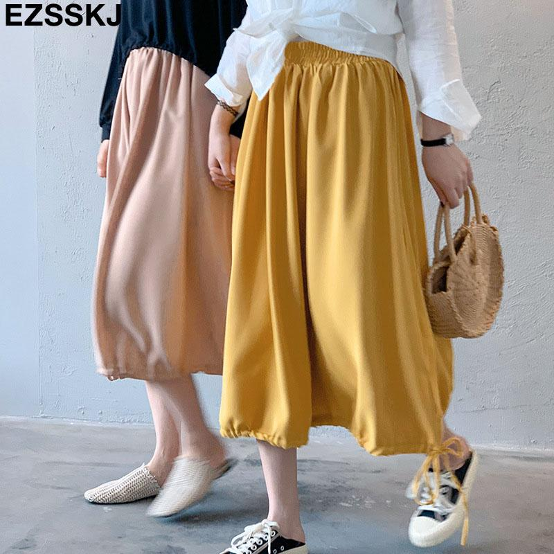 d44a4242f0 Korean 2019 new tail drawstring a-line skirt women design lantern skirt  midi female chiffon solid cute