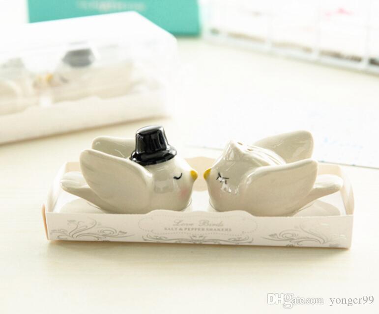 100шт = 50sets / LOT невесты Groom влюбленности ангела птицы солонка венчания и Gits для посетителей оптом