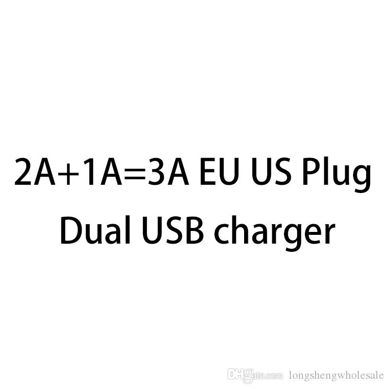 100pcs / lot gros 2A + 1A = 3A UE US Plug double port adaptateur mural USB Voyage charge AC chargeur pour téléphone android smartphone universel