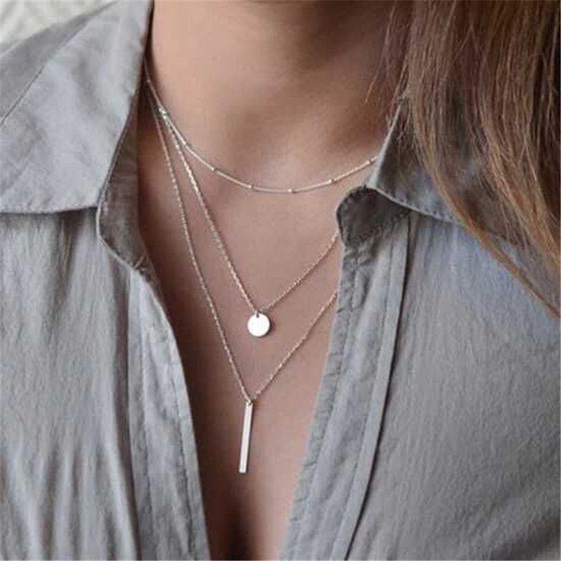 ewelry Acessórios de Moda da estrela do coração Colar Gargantilha Multilayer Coin borlas Bar Colares Beads Chocker colares para as mulheres Jóias G ...