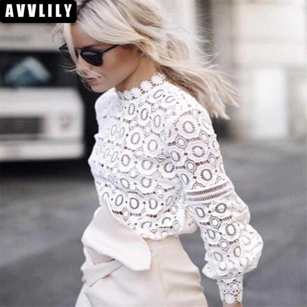 Dantel Bluz Uzun Kollu Kadın Rahat Beyaz Bluz Gömlek 2018 İlkbahar Yaz Seksi Zarif Serin Blusas Tops Oymak
