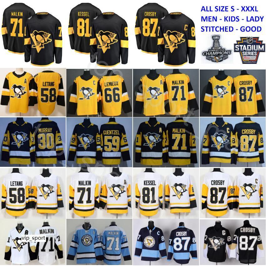 سلسلة الاستادات Pittsburgh Penguins Jersey 87 Sidney Crosby 71 Evgeni Malkin Phil Kessel Kris Letang Lemieux Matt Murray Guentzel Hockey