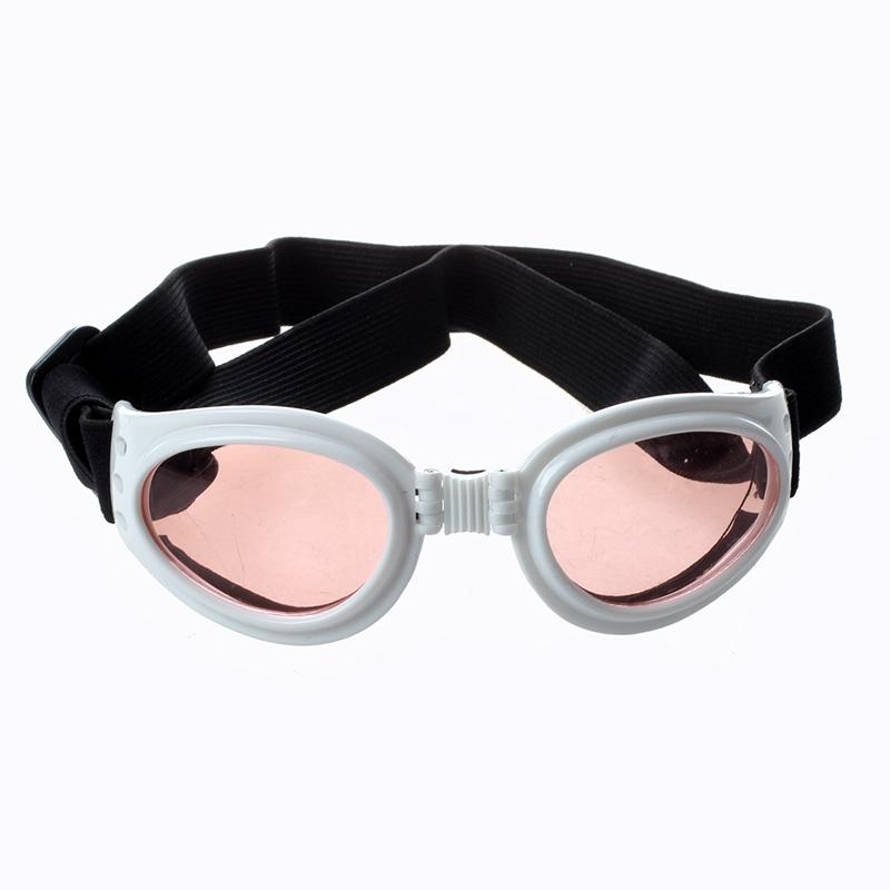 Branco Framed filhote de cachorro animal de estimação cão de proteção UV Goggles Óculos de sol Eyewear