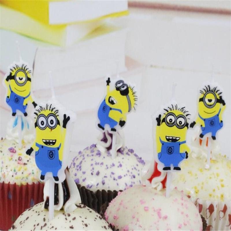 Lovely Minion 5pcs/set Craft Cupcake Candle Toppers For Kids Birthday Candles Decorations Party Supplies Y200618