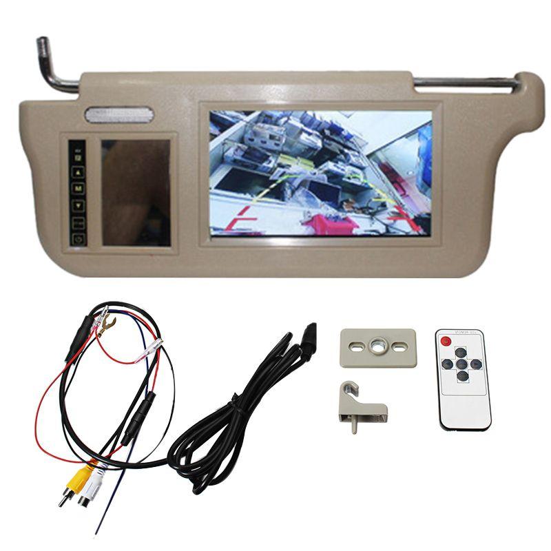 7 بوصة سيارة الشمس قناع مرآة شاشة LCD شاشة مراقبة DC 12V بيج مرآة الداخلية لAV1 AV2 كاميرا لاعب سيارة دي في دي