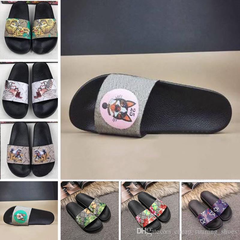 Cheap Marca Homens Mulheres Scuffs Sandals Designer Shoes Luxo Deslize Summer Fashion amplo e plano Slippery Sandals Flip Flop Chinelo 35-46 flor