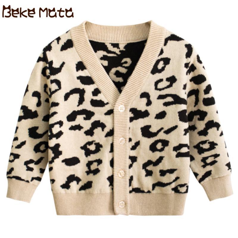 Cardigan bébé pour les filles Leopard Tout-petit fille chandail à manches longues col V Pulls tricotée pour enfants Vêtements enfants Enfant 2-9Y